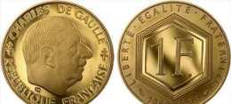 OR PL  1 FRANC COMMEMORATIVE  GENERAL DE GAULLE  1988  RARE - Gold