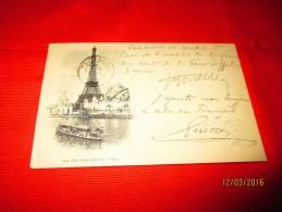 Carte Precurseur 1900 TOUR EIFFEL Verso Type Sage 1900 Obliteration Drapeau Peu Commun - Marcophilie (Lettres)