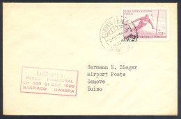 Chile 1966 Cover: Alpine Skiing Ski Alpine Sci Alpino; Mundial De Ski 1966; Lufthansa Vuelo Inaugural LH 603 Santiago Gi - Ski