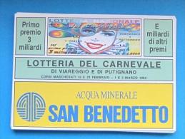 1992 CARTOLINA LOTTERIA CARNEVALE - Biglietti Della Lotteria