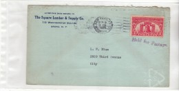 USA ETATS UNIS - NEW YORK WESTCHESTER - 1926 - GRIFFE HELD FOR POSTAGE - ENTETE SQUARE LUMBER - N° 268 SUR ENVELOPPE - Marcophilie