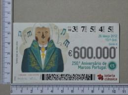 PORTUGAL   2012 - LOTARIA CLASSICA 13ª  ORD - 2 SCANS - (Nº14321) - Billets De Loterie