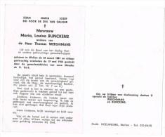 Wellen :  Mevrouw Maria, Louisa Bunckens ; 1964 ( 2 Scans) - Images Religieuses