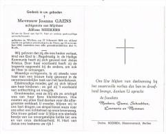 Wellen :  Mevrouw Joanna Gaens ; 1965 ( 2 Scans) - Devotion Images