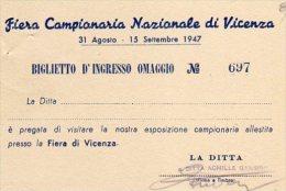 VICENZA - Fiera  Campionaria Nazionale 1947 - Tickets - Entradas