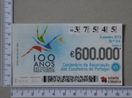 PORTUGAL   2013 - LOTARIA CLASSICA 36ª  ORD - 2 SCANS - (Nº14368) - Billets De Loterie