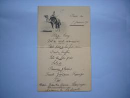 Menu Illustré Thème Chameau Bédouin 1911 MMe De Lachapelle 10 X 16 Cm - Menus