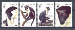 Ncw164s WWF FAUNA AAP APEN ZOOGDIER DIANA MONKEYS MAMMALS APES AFFEN SINGES GHANA 1994 PF/MNH - W.W.F.