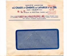 Lettre Flamme Ema Paris S L T Entete Chaux Ciment Lafarge - Marcophilie (Lettres)