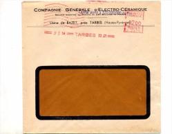 Lettre Flamme Ema Muette Tarbes Entete Compagnie Electro-ceramique - Affrancature Meccaniche Rosse (EMA)