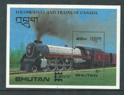 "Bhoutan B. F. N° 132 XX ""Capex ´87"" Expo Philat. à Toronto ( II ) Locomotives Et Train Du Canada, Le  Bloc  Sans Ch., TB - Bhután"