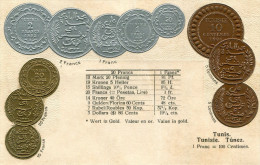 MONNAIE(TUNISIE) CARTE GAUFREE - Monnaies (représentations)