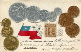 MONNAIE(CHILI) CARTE GAUFREE - Monnaies (représentations)