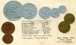 MONNAIE(PEROU) CARTE GAUFREE - Monnaies (représentations)