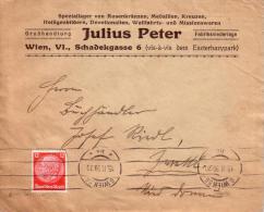 Reklamebrief Firma  JULIUS PETER - Wien VI. Schadekgasse - Gelaufen 1939 - Briefe U. Dokumente