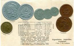 MONNAIE(ARGENTINE) CARTE GAUFREE - Monnaies (représentations)