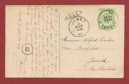 Eelen Langstempel / Griffe    Op Postkaart  1907 Via Hasselt Naar Jumet - Postmark Collection