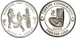 AC - HACIVAT KARAGOZ TURKISH SHADOW PLAYER 2000 COMMEMORATIVE SILVER COIN TURKEY PROOF - UNCIRCULATED - Turkije