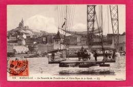13 BOUCHES-du-RHONE MARSEILLE, La Passerelle Du Transbordeur, Notre-Dame De La Garde, Animée, 1914, (L. L., Selecta) - Alter Hafen (Vieux Port), Saint-Victor, Le Panier
