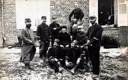 CARTE PHOTO ORIGINALE ANCIENNE  DES MILITAIRES DU 114éme REGIMENT D´INFANTERIE EN CAMPAGNE 1914/18 DIT LES CHTIMISTES - Guerre 1914-18