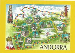 ANDORRA. Carte Et Historique De La Principauté D´Andorre, Une Carte Postale Neuve - Landkarten