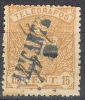 Sello 15 Cts Sepia, Telegrafos 1901, Lineal Azul De ALICANTE, Edifil Num 33 º - Telegramas