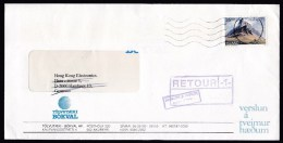 Iceland: Cover To Germany, 1992, 1 Stamp, Mountain, Returned, Various Retour Markings (discolouring At Back) - 1944-... Republique