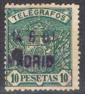 Sello 10 Pts Verde, Telegrafos 1901, Lineal Azul MADRID,  Edifil Num 38 º - Telegramas