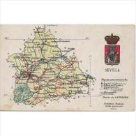 SVLLTPA1852-LFT7088.Tarjeta Postal DE SEVILLA.Mapa GEOGRAFICO POLITICO De  SEVILLA - Sevilla