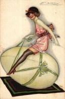 CPA   -  Illustrateur  Mauzan  -   -  Jeune Femme Sur Un Oeuf De Pâques  -  N° 86 - 1 - Mauzan, L.A.