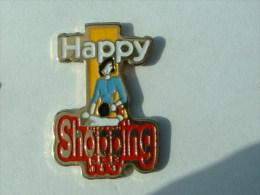 Pin´s FEMME - HAPPY SHOPPING - Pin-ups