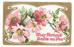 Vintage Greetings Postcard May Fortune Smile On You Wild Roses Embossed Gold Background - Postcards