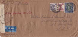 India; Censored Cover To USA 1942 - Inde (...-1947)