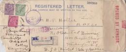 India; Registered Censored Postal Cover To USA 1915 - 1911-35 King George V