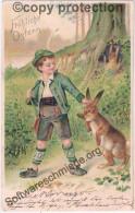 Fröhliche Ostern Junge In Deftiger Jäger Kleidung Mit Jagd Gewehr Begegnet Dem Osterhasen 2.4.1904 Gelaufen - Pâques