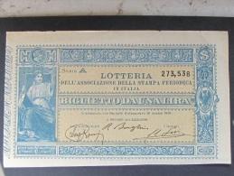 BIGLIETTO LOTTERIA 1886 ASSOCIAZIONE STAMPA PERIODICA SPL - Biglietti Della Lotteria