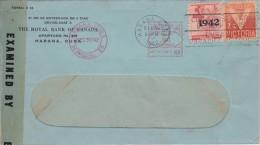 Cuba; Censored Cover To USA 1942 - Uprated W. Meter Cancel - Kuba