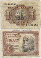 Billet De Banque Espagne Banco Espana Une Peseta Années 50 - [ 3] 1936-1975 : Régence De Franco