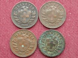 SUISSE Lot De 4 Monnaies De 2 Rapen Voir Année - Svizzera