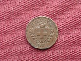 SUISSE Monnaie De 1 Rapen 1891 Année Rare - Svizzera