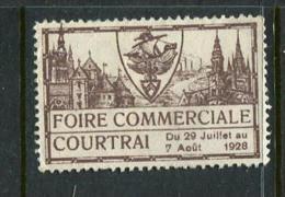 """1928 Foire Commerciale Courtrai Poster Stamp Vignette Label No Gum 1 3/4 X 1 1/8"""" - Cinderellas"""