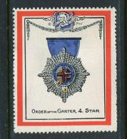 "Order Of The Garter 4 Star Poster Stamp Vignette Label No Gum 1 3/4 X 2"" - Cinderellas"