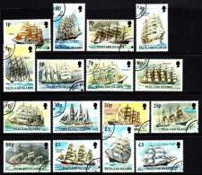 Falkland Islands Used Scott #485-#500 Complete Set Of 16 Sailing Ships - Falkland