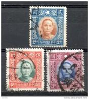 China Chine : (5040) 1939-41 3é émission Sun Yat-sen (Dah Tung Imprimé) Sans Filigrane SG497A,498A,500A(o) - Chine