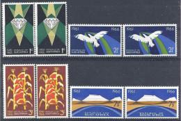 1966 AFRIQUE DU SUD 298-305** Diamant, Maïs, Mines, Oiseau Stylisé, 4 Paires Se Tenant - Afrique Du Sud (1961-...)