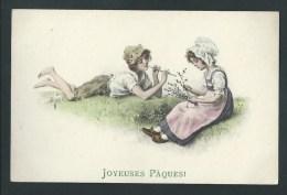 M.M.N°258. Joyeuses Pâques! Très Belle Illustration. Enfants Dans Les Champs. Joueur De Flûte. - Pâques