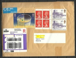 Great Britain 2016 Registered Air Mail Safety Cover To Estonia Castle Queen Etc - 1952-.... (Elizabeth II)