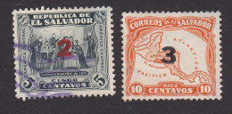 El Salvador, Scott #530-531, Used, Conspiracy Of 1811, Map Surcharged, Issued 1934 - Salvador