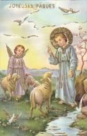 Belle CPA Illustrée Glacée Dorures  Joyeuses PAQUES  ANGE Moutons Enfant JESUS Bord D' Eau - Pasqua