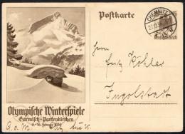 GERMANY 1936 - OLYMPIC WINTER GAMES GARMISCH-PARTENKIRCHEN - MAILED POSTAL STATIONERY - Winter 1936: Garmisch-Partenkirchen